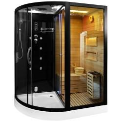 Kabina prysznicowa  Andre czarna  z sauną  suchą i parowa  180 x 110 x 223cm PRAWA