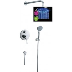 Zestaw prysznicowy FIDELIA mocowanie boczne 3 kolory led