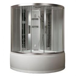 kabina z sauna parowa i hydromasażem srebrna  150x150 cm DA324HF3