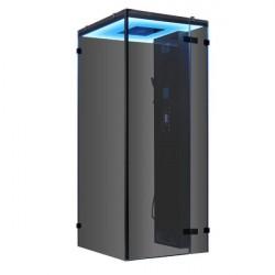 Kabina  z sauna parową bez brodzika schwarz 100x100 cm