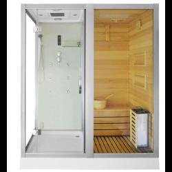 Kabina prysznicowa  Aleks  z sauną  suchą i parową biała 180 x 110 x 223cm prawa