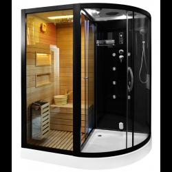 Kabina prysznicowa  Andre czarna z sauną  suchą i parowa  180 x 110 x 223cm LEWA