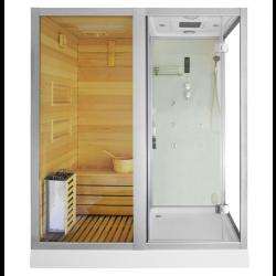 Kabina prysznicowa  Aleks  z sauną  suchą i parową  biała 180 x 110 x 223cm lewa