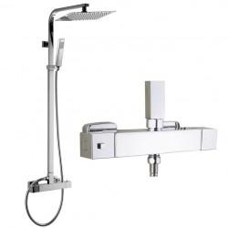 Zestaw prysznicowy z termostatem kwadrat deszczownica 20 cm